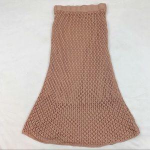 Zara New open knit crochet midi skirt pink nude